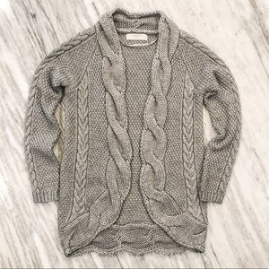 {Zara} Gray Chunky Cable Knit Cardigan